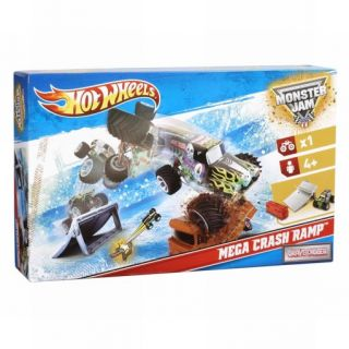 Hot Wheels Mega Crash Ramp Monster Jam Grave Digger Set