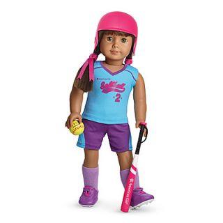 American Girl MYAG Softball Set for Dolls Charm New Helmet Ball Bat Outfit
