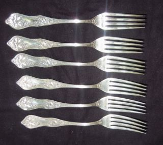 6 Vtg Violet Dessert Forks Aesthetic Silverplate K in Circle Mark
