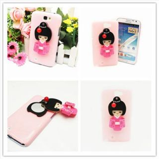 OC22 Pink Case for Samsung Galaxy NOTE2 II N7100 3D Japanese Doll Mirror Cover