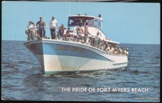 Fort Myers Beach FL Deep Sea Fishing Party Boat Vtg PC