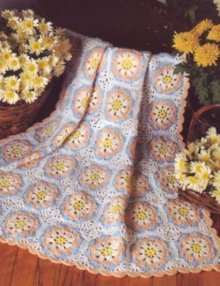 Summer Flowers Baby Afghan Crochet Pattern Instructions