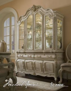 Antiqued Buttermilk Baroque China Buffet Cabinet