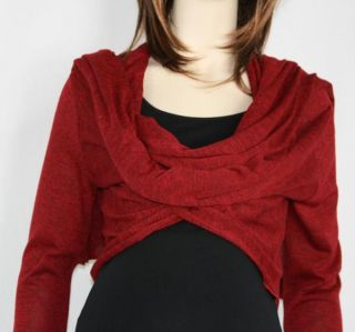 New Japanese Weekend Maternity Winter Wrap Knit Shrug Shawl s M 4 6 8 Career Red
