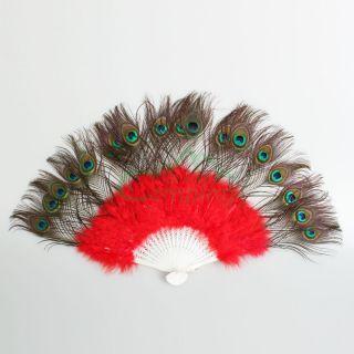 New Wedding Dance Costume Feather Fan Women Folding Hand Fan Red C 06