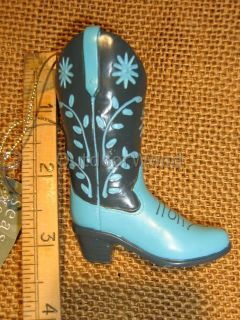 Cowgirl Boot Blue Grey Floral Ornament Western Boots Country