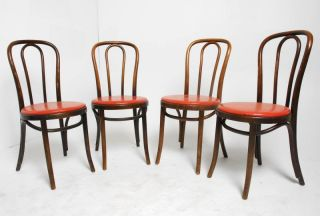 Set of 4 Vintage Thonet Bent Wood Cafe Chairs as Is More Available