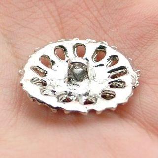 Diamante Sparkling Crystal Rhinestone Flower Round Button 13 16 inch 21 Mm