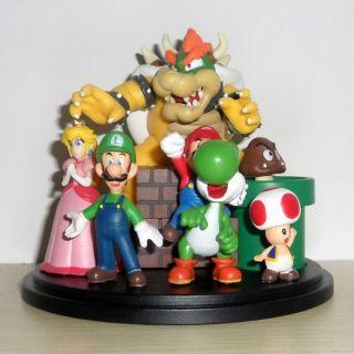 New Super Mario Bros Bowser Princess Luigi Yoshi Toad Goomba Figures Set