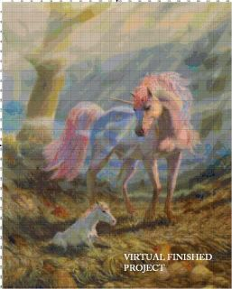 Mother Unicorn Cross Stitch Pattern Horses Fantasy TBB