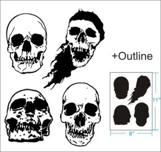 4 Skull Airbrush Stencil Artwork Pattern Artwork Paint Party Custom 010292Y 9