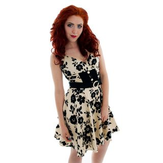 Voodoo Vixen Floral Bettie Page Dress Emo Pin Up 50's Gothic Sexy Rockabilly M