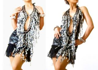 Black Silver Cleavage Latin Salsa Cha Cha Dance Dress