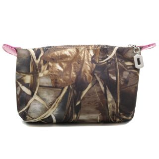 Realtree® Camouflage Fabric Cosmetic Bag w Faux Leather Trim Pink Brown