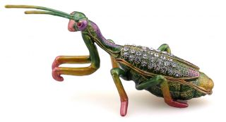 Praying Mantis Enameled Trinket Box Jewelry incl Necklace Pendant