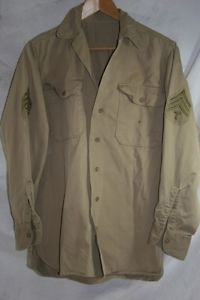WW2 US Army Cotton Khaki Uniform Shirt Tech Sgt T 5 Stripes