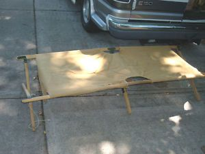 Vtg Folding Wood Cot Hunting Fishing Camping Needs Repair DIY Save Money