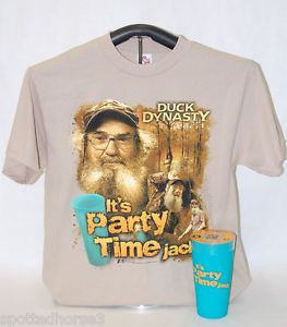 Duck Dynasty It's Party Time Jack T Shirt and Party Cup Combo Hunting Fishing