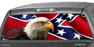 Rebel Flag Rear Window Graphic Decal Print Truck Eagle