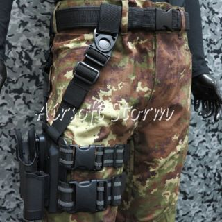 CQC Tactical Beretta 92 96 RH Drop Leg Holster with Magazine Light Case Black