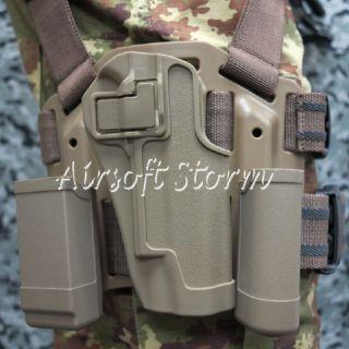 CQC Tactical Colt 1911 M1911 RH Drop Leg Holster with Magazine Light Case Brown