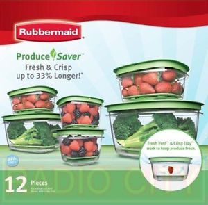 Rubbermaid Produce Saver 12 Piece Set Food BPA Free Plastic Storage Container