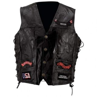 Black Leather Motorcycle Biker Vest w Patches Large