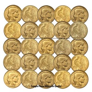 Lot of 25 French 20 Franc Roosters Gold Coins Fractional World Bullion France