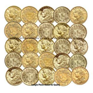 Lot of 25 Swiss 20 Franc Helvetia World Gold Foreign Bullion International Coin