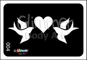 Glimmer Body Art Glitter Tattoo Tattoos Stencils Stencil Dove Bird Heart 5 Pack