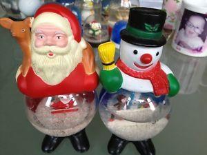 Lot of 13 Vintage Christmas Themed Snow Globes Santa Snowmen Elves Angels