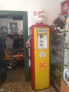 Vintage Shell Gas Pump and Globe