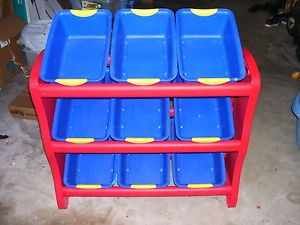 ... Sterilite Kids Red Blue Toy Storage 3 Tier 9 Bins Playroom Bedroom ...