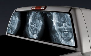 Rear Window Graphic Decal Truck Topper SUV Flaming Skulls 018 Works with Tint