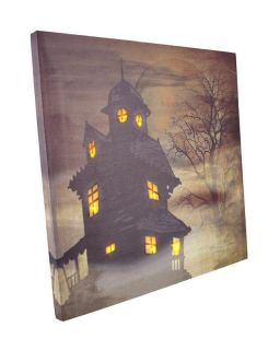 Radiance Flickering Lighted Haunted House Canvas Wall Decor Free SHIP USA
