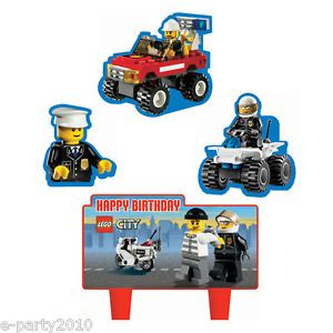4pc Lego City Wilton Mini Cake Decorations Birthday Party Supplies
