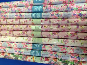 Lot of 10 Rolls Peach or Pink Gift Wrapping Paper Birthday Floral Any Occasion