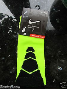 Nike Elite Socks Volt Vapor Football Neon Yellow Green Lime Black Large Sz 8 12