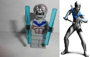 Lego Custom Batman Gray Nightwing Minifigure with Gray Suit Blue Weapons