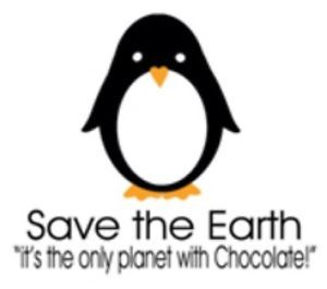 "Green Tshirt Save The Earth ""It's The Only Planet with Chocolate"" Eco Penguin"