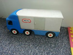 Little Tikes Semi Truck Trailer Car Hauler Toy Blue Great for Kids