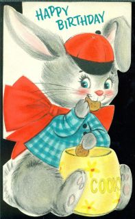 Vintage 1959 Hallmark Greeting Card Happy Birthday Dressed Bunny Cookie Jar