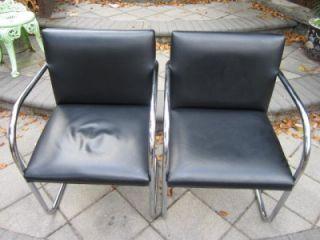 Pair of Mid Century Modern Knoll Black Leather Brno Tubular Chrome Chairs C