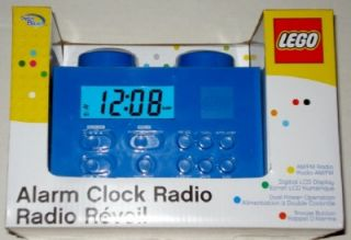 New Lego Alarm Clock Radio Blue Snooze Digital LCD Am FM Dual Power AC Adapt