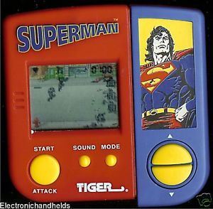 1980s Superman Tiger Electronic Handheld Arcade Game Comic Movie Toy LCD Kids