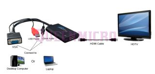 SVGA VGA Video w Audio to HDMI HD Converter USB PC Desktop Laptop Notebook DVD