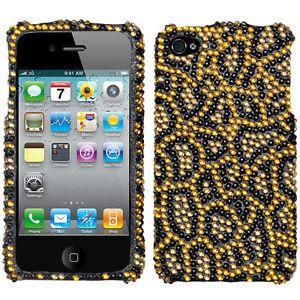 Gold Black Leopard Cheetah Print Diamond Bling Hard Case Cover iPhone 4 4G 4S