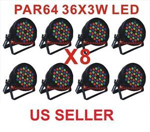 Lot Par 64 DJ 36X3WATT LED Lights RGB Par Can 108Watt DMX Stage Party Show 8pcs