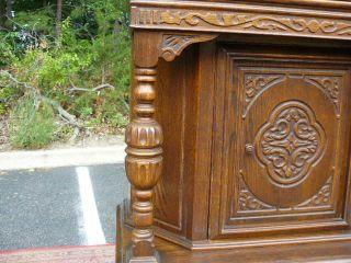 Antique Carved Oak Tudor Jacobean Blind Door China Cabinet Liquor Cabinet