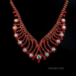 Swarovski Crystal Ruby Necklace Earrings Wedding Party Bridal Jewelry Set C0031D
